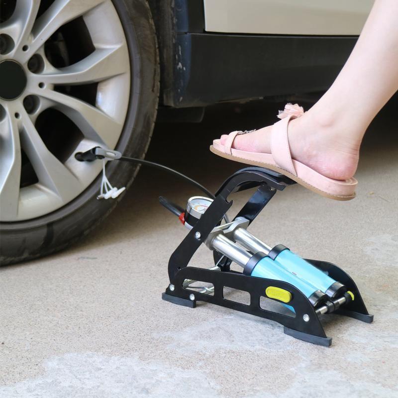 Foot Pump High Pressure Air Inflator Bicycle Motorcycle Ball Tyre Mini Inflator