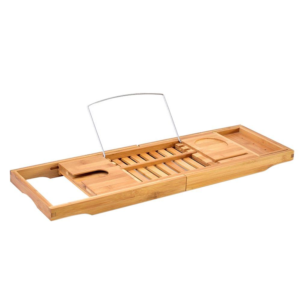 Bath Tray Bathtub Book Holder Bamboo Shelf Shower Bathroom Caddy ...