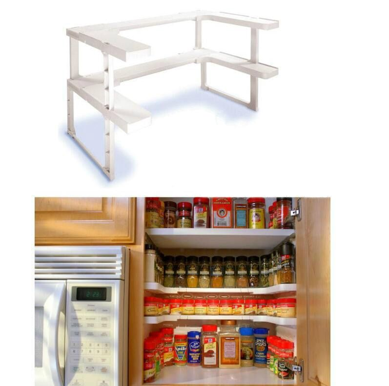 Details About Spice Kitchen Shelf Organizer Rack Storage Holder Cabinet 2 Tier Stand Seasoning