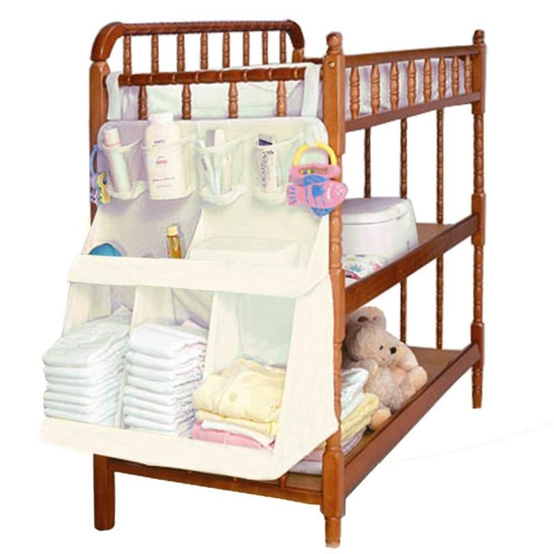 Portable Baby Diapers Hanging Bag Multi-Purpose Baby Crib Bedside Hanging Mesh Bag Clothes Diaper Storage Bags Baby Diapers Storage Bag