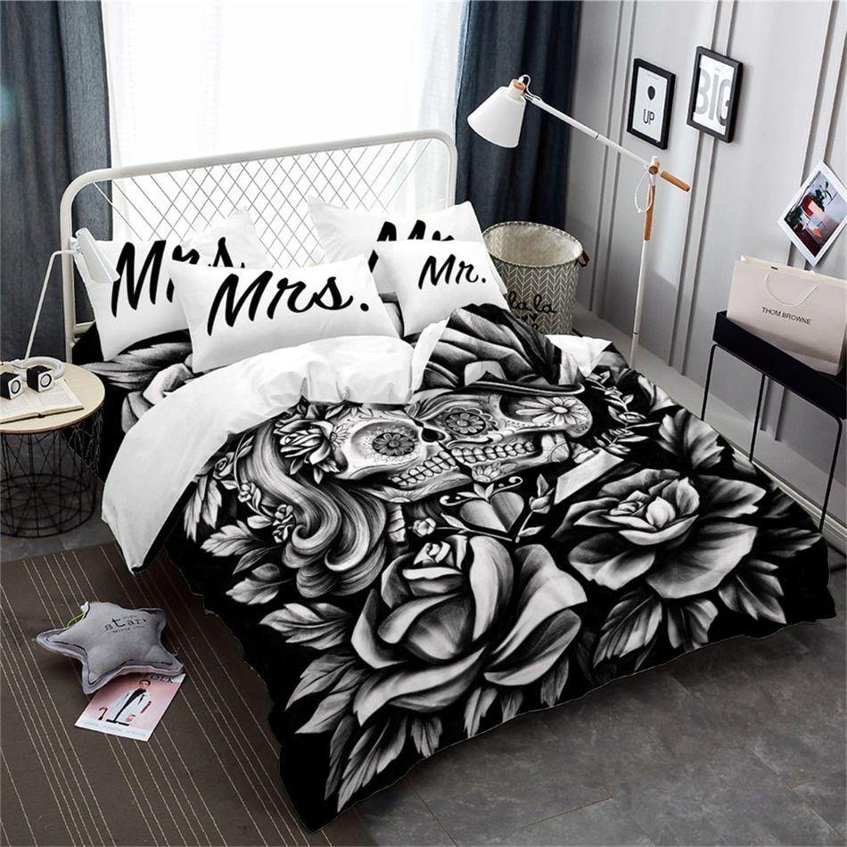 3d Bedding Set Rose Sugar Skull Duvet Cover Set Mr Mrs Print Pillowcase 3pcs Ebay
