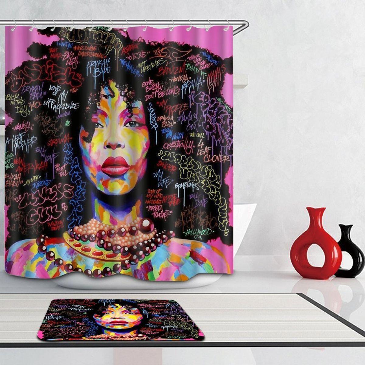 Graffiti African Women Black Hair Afro Shower Curtain Set Polyester Fabric Mat