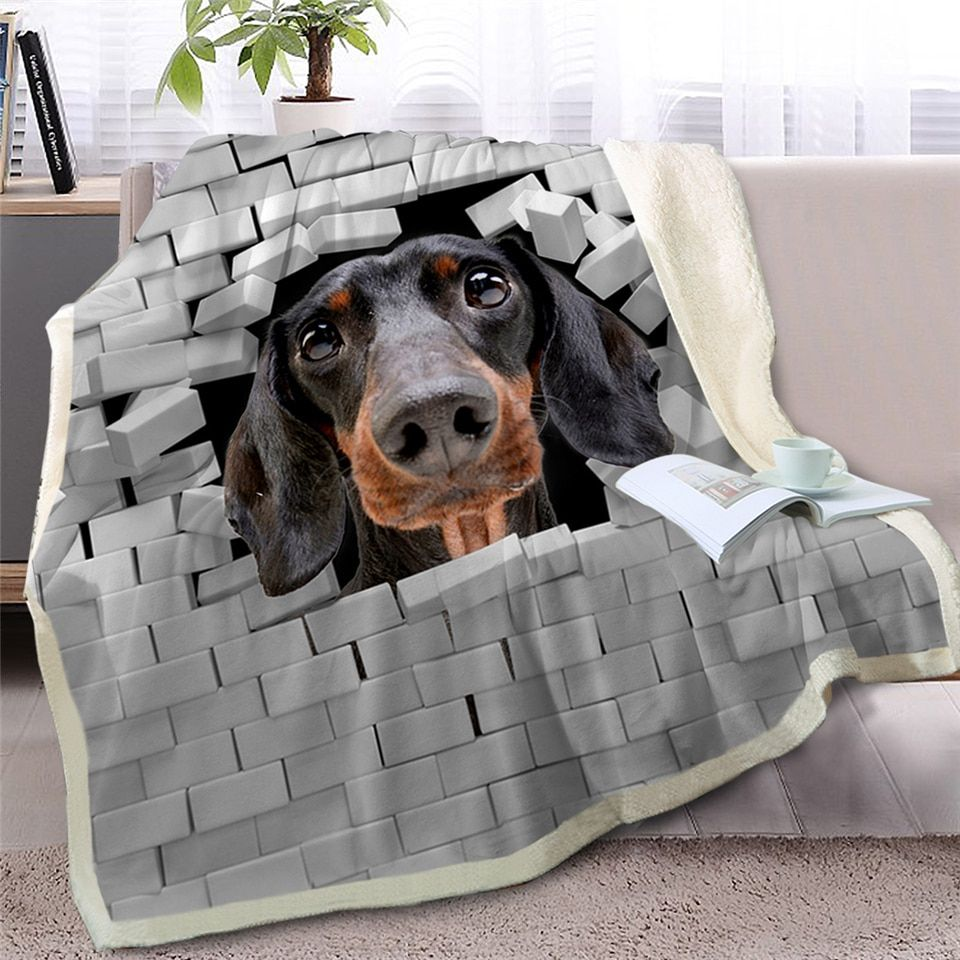 51 x 59 Style01, 130cm x 150cm Ultra Soft 3D Printed Blanket Dachshund Dog Pattern Cozy Microfiber Plush Sherpa Blanket 2 Sizes Warm Fuzzy Throw Blanket for Kids and Adults Throws Blankets