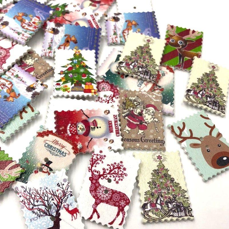 50pcs Mixed Wooden Shape Christmas Decor Crafts Embellishments Scrapbooking
