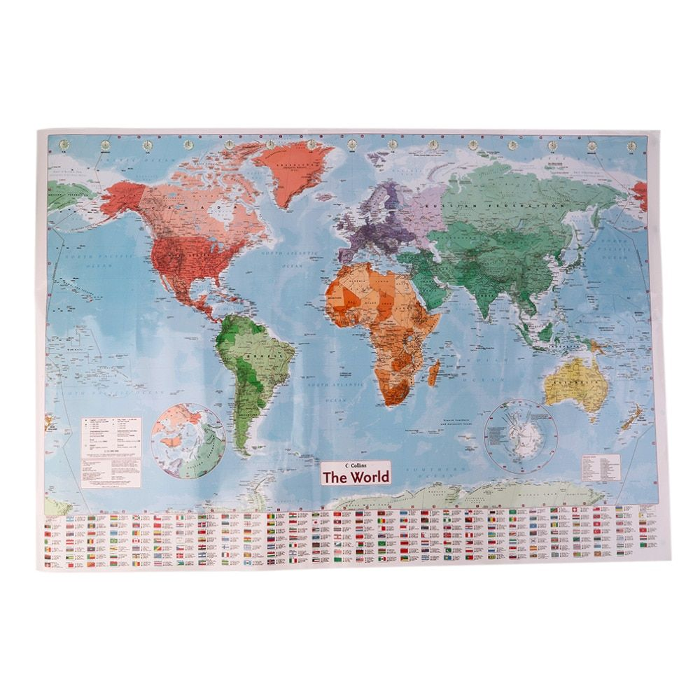 Details about Waterproof World Map Big Large Map Of The World Poster With  Country Flags New