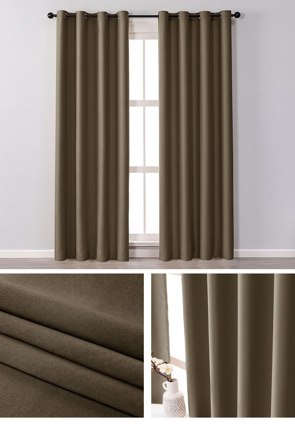 Modern Blackout Curtains For Living Room Bedroom Window Treatment Blinds Solid Ebay