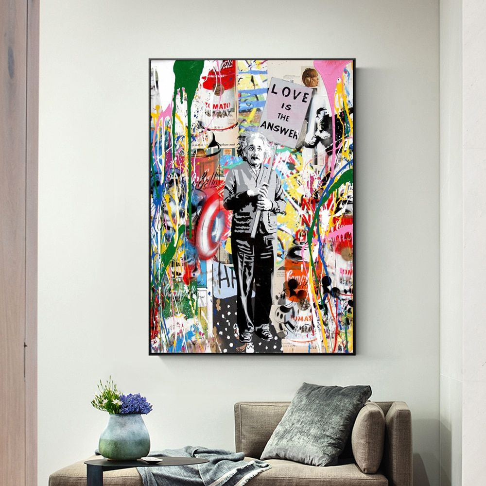 Wall Graffiti Art Canvas Painting Abstract Einstein Follow Your Dreams Prints