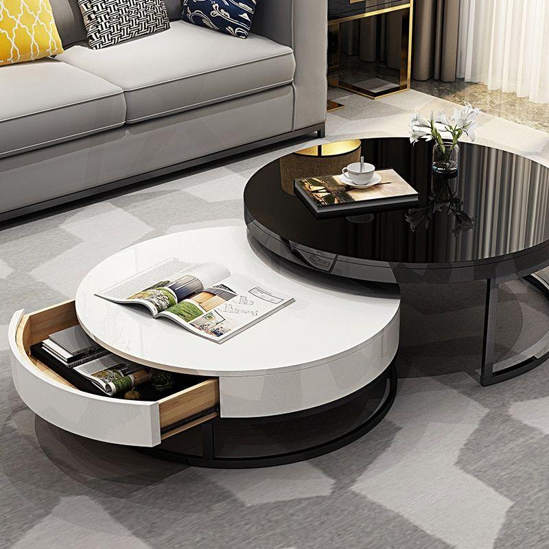 Modern Round Table Minimalist Tea Coffee Table Tv Cabinet Small Tempered Glass Ebay