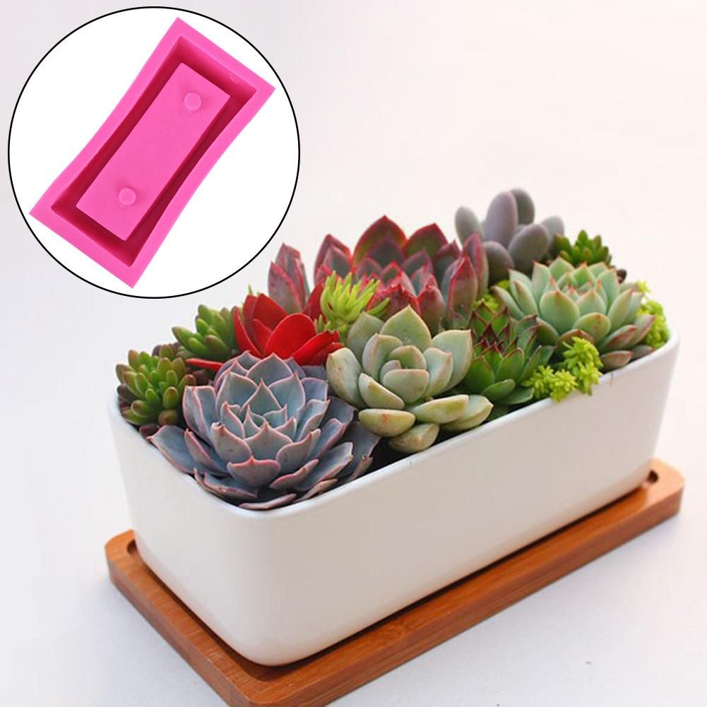 DIYSilicone Concrete Mold Succulent Plant Flower Pot Cement Vase Mould C