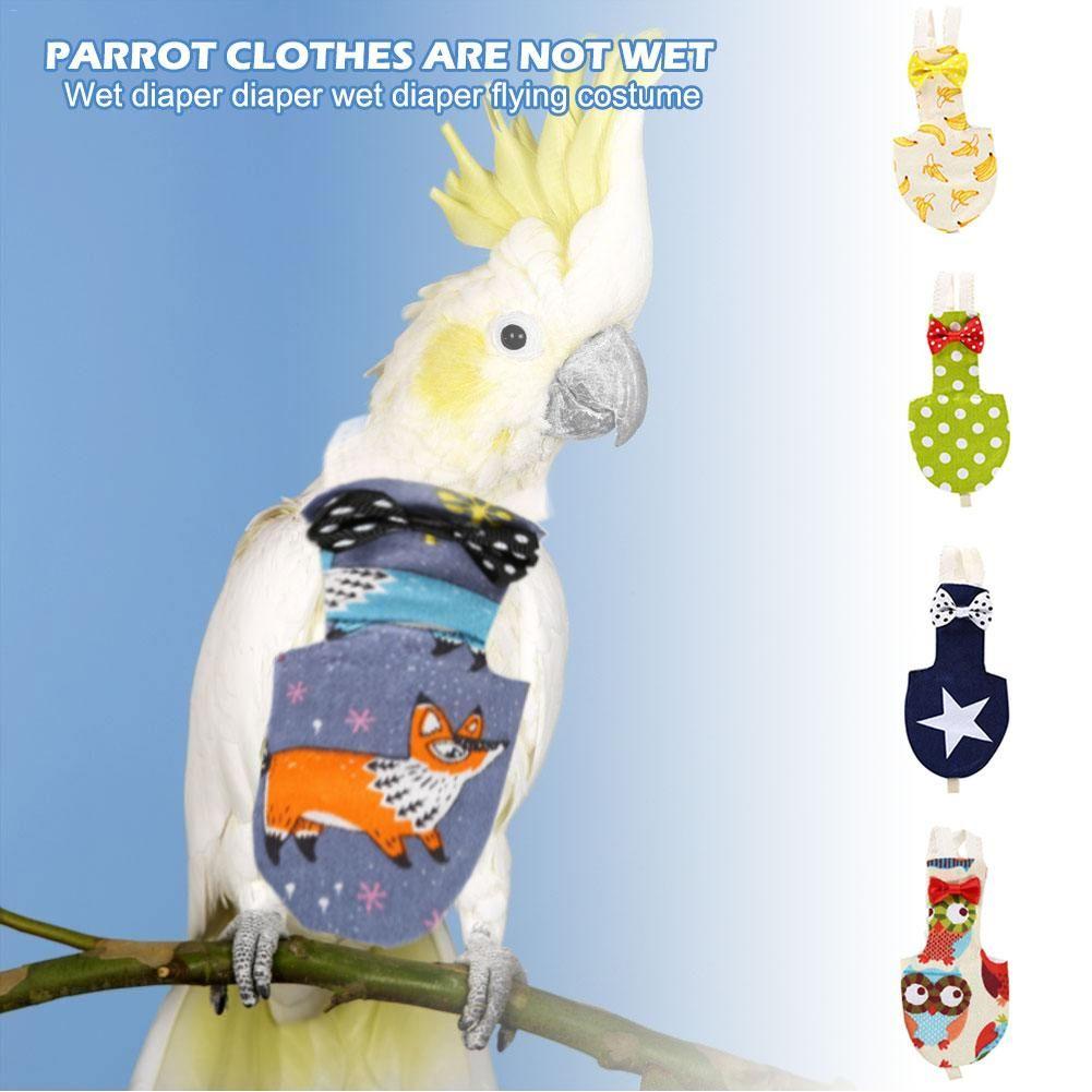 Reusable Parrot Pigeon Cockatiels Birds Diaper Flight Suits Nappy Flying Costume