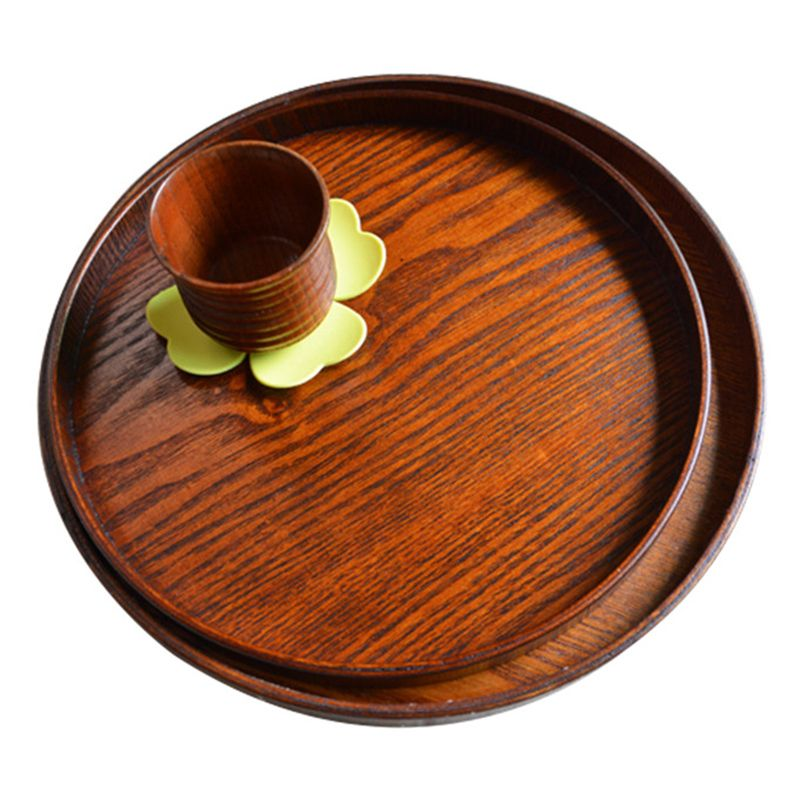 Wood Serving Plate2pcs,Wooden Round Serving Tray Fruit Dessert Cake Snack Candy Salad Bread Butter Cheese Hamburger Appetizer Wooden Charger Platter