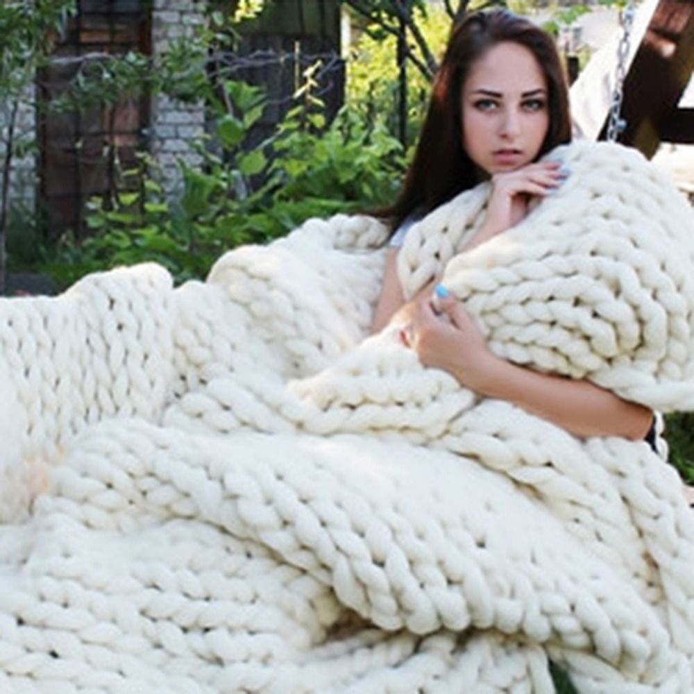 Blanket Knitting CrochetLlinen Soft Hand Knitted Photography Yarn Giant Props Weaving Blankets Thick Soft Blankets Line 1