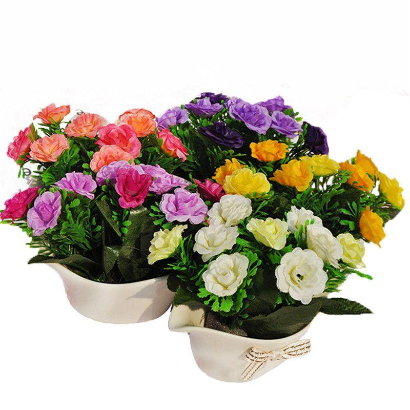 225 & Details about Artificial Potted Flowers Plants Pot Home Decoration Fake Office Succulent Heads