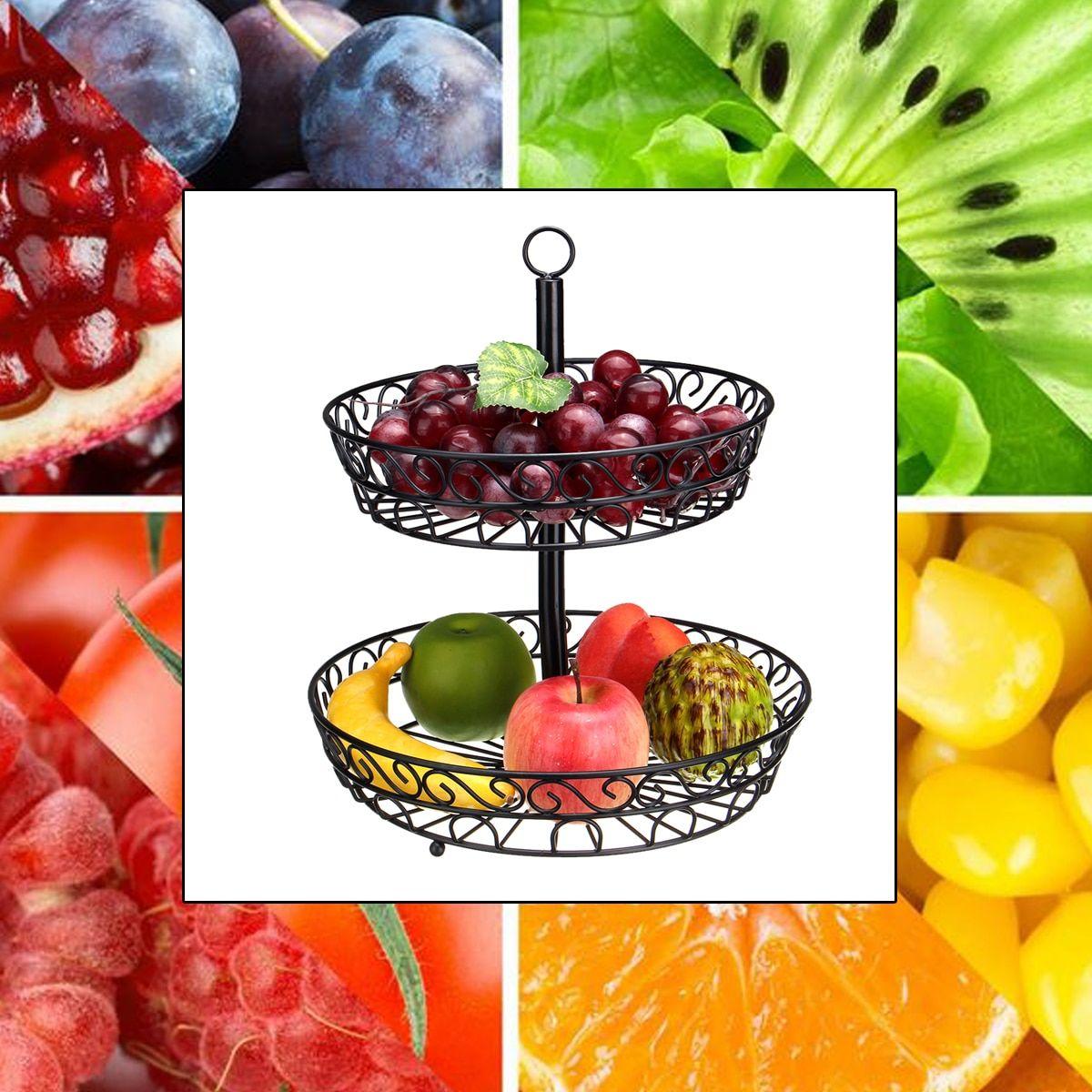 Details about Fruit Basket Bowl Stand Holder Kitchen Storage Rack Double  Layer Tier Organizer
