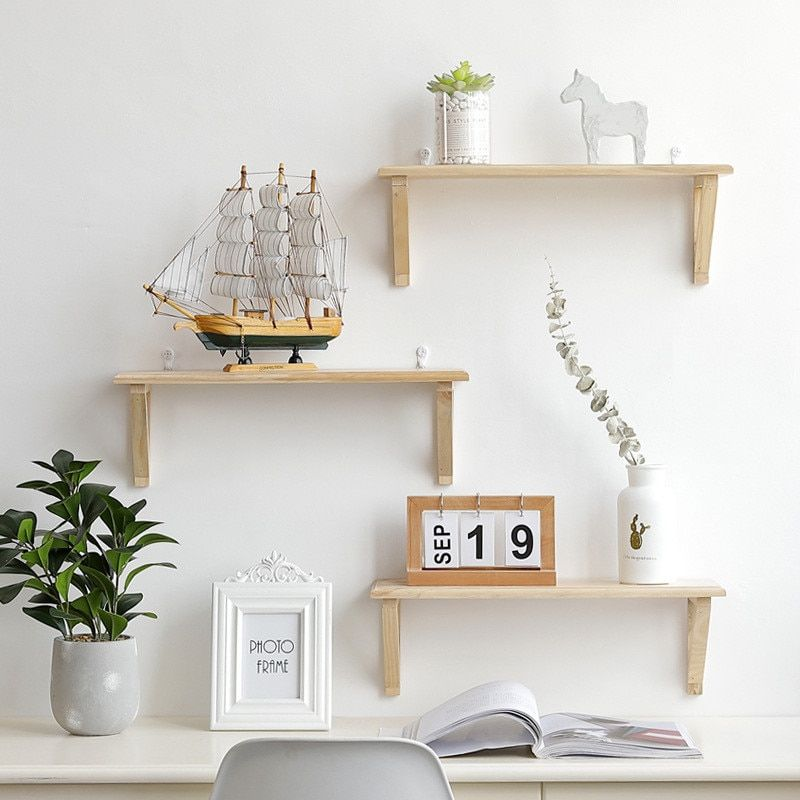 Details about Wooden Wall Mount Shelf Holder Rack Home Decor Bedroom  Organizer Kitchen Storage