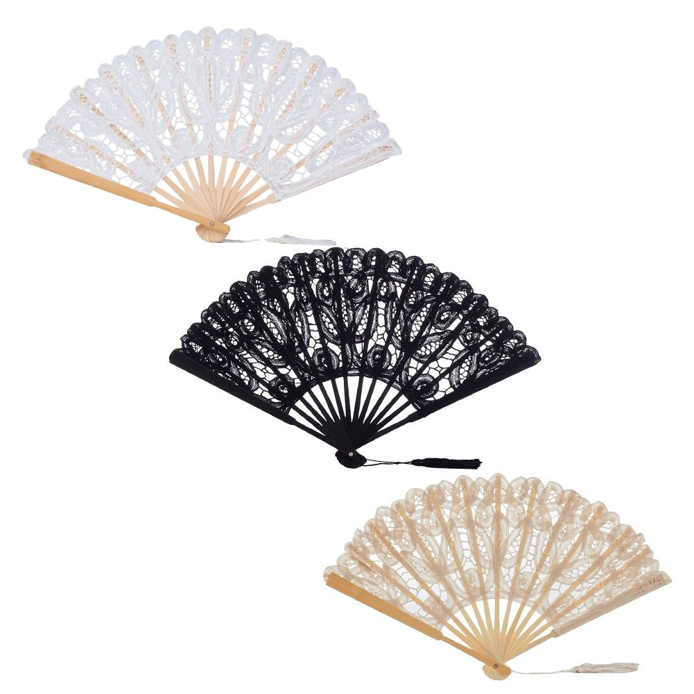 Details about Bamboo Fans Lace Chinese Style Handheld Folding Flower Fabric  Silk Wedding Party