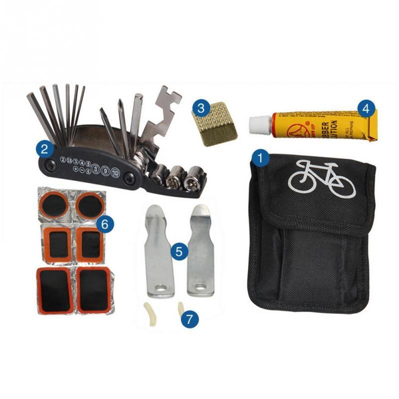 Bicycle Cycling Tire Repair Tool Kit Combination Repair Set Gas Pressure Gauge