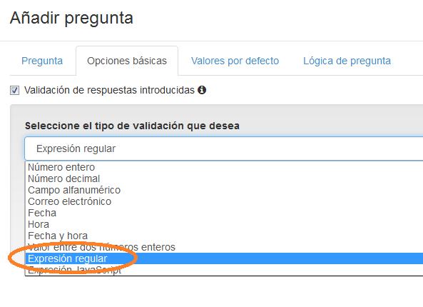 Seleccionar opción expresión regular
