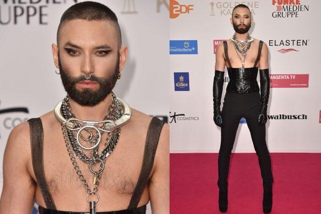 La nuova trasformazione di Conchita Wurst: look sadomaso e capelli cortissimi sul red carpet