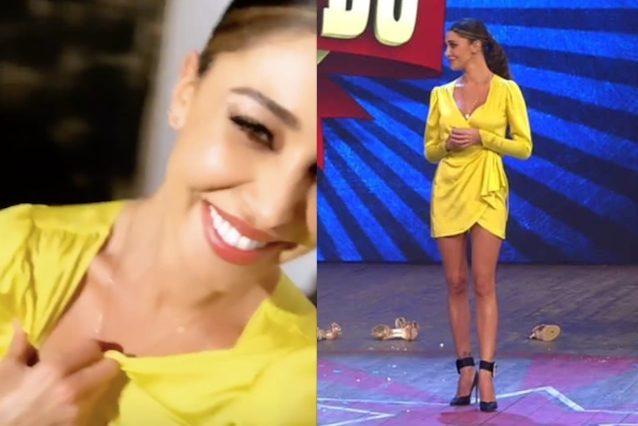 Belén Rodriguez in giallo a Colorado: gambe in mostra e maxi scollo per la seconda puntata