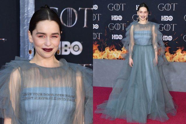 L'abito di Emilia Clarke al lancio dell'ultima stagione di Game of Thrones nasconde un messaggio