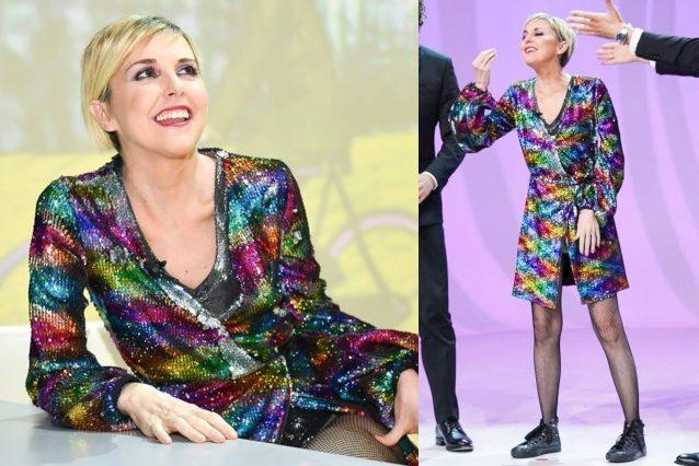 Nadia Toffa in versione multicolor: a Le Iene è scintillante con le paillettes arcobaleno