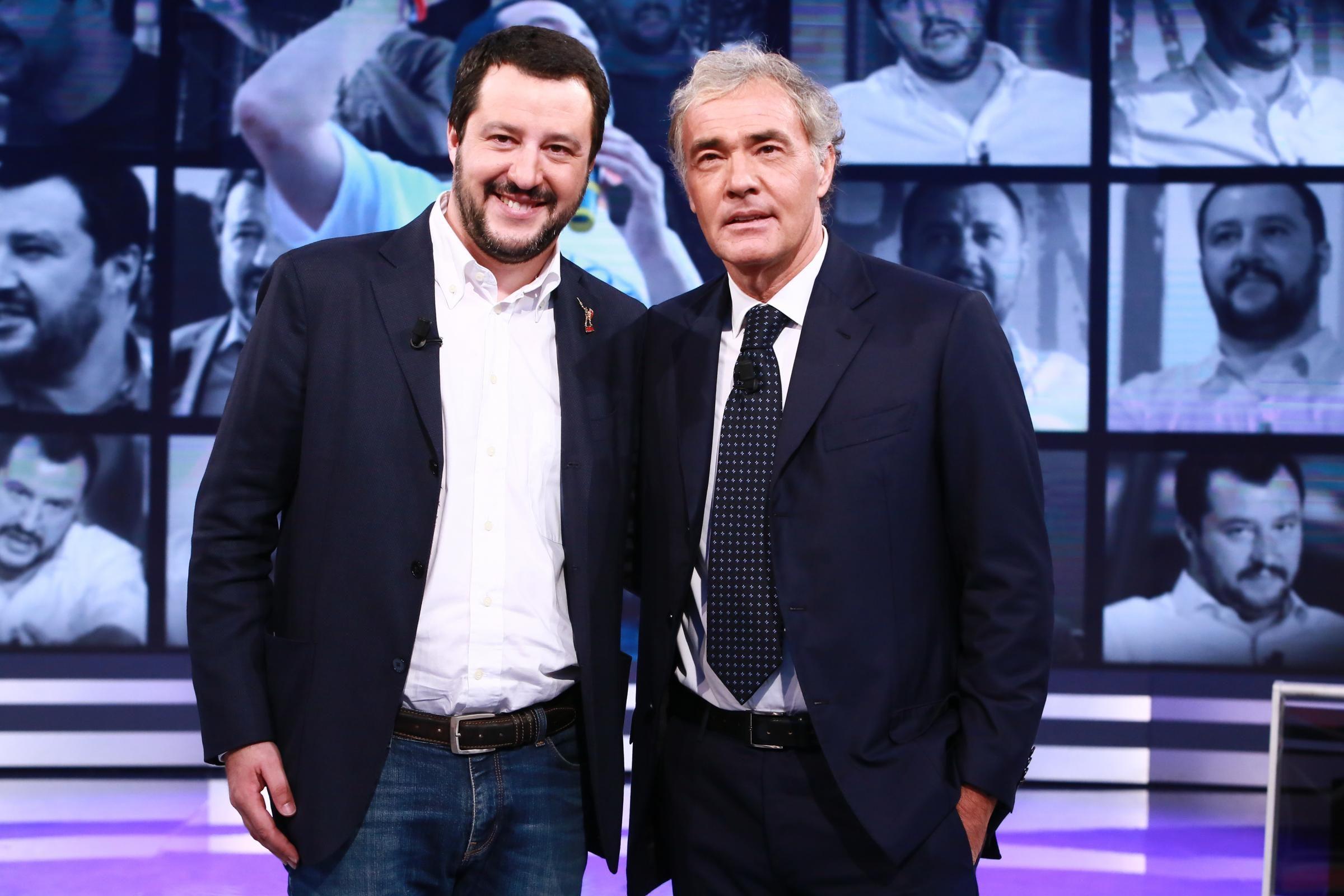 """Matteo Salvini attacca ancora Fabio Fazio da Giletti: """"Un signore che su Rai 1 guadagna 4 milioni"""""""
