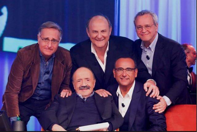 """Bonolis, Scotti e Conti ospiti del """"Maurizio Costanzo Show"""": sono loro i Tre Tenori della Tv"""