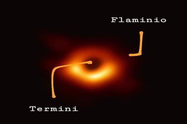 Il meme romano sul buco nero: è tra le fermate metro Termini e Flaminio