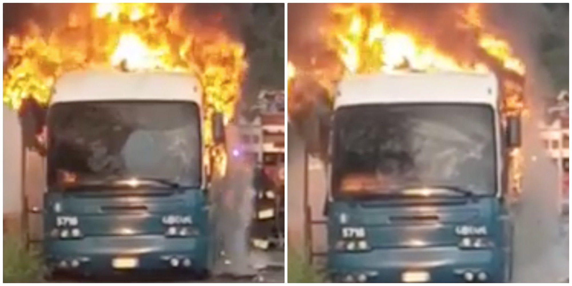 Guidonia, bus Cotral a fuoco su via Tiburtina: paura per i passeggeri, traffico in tilt