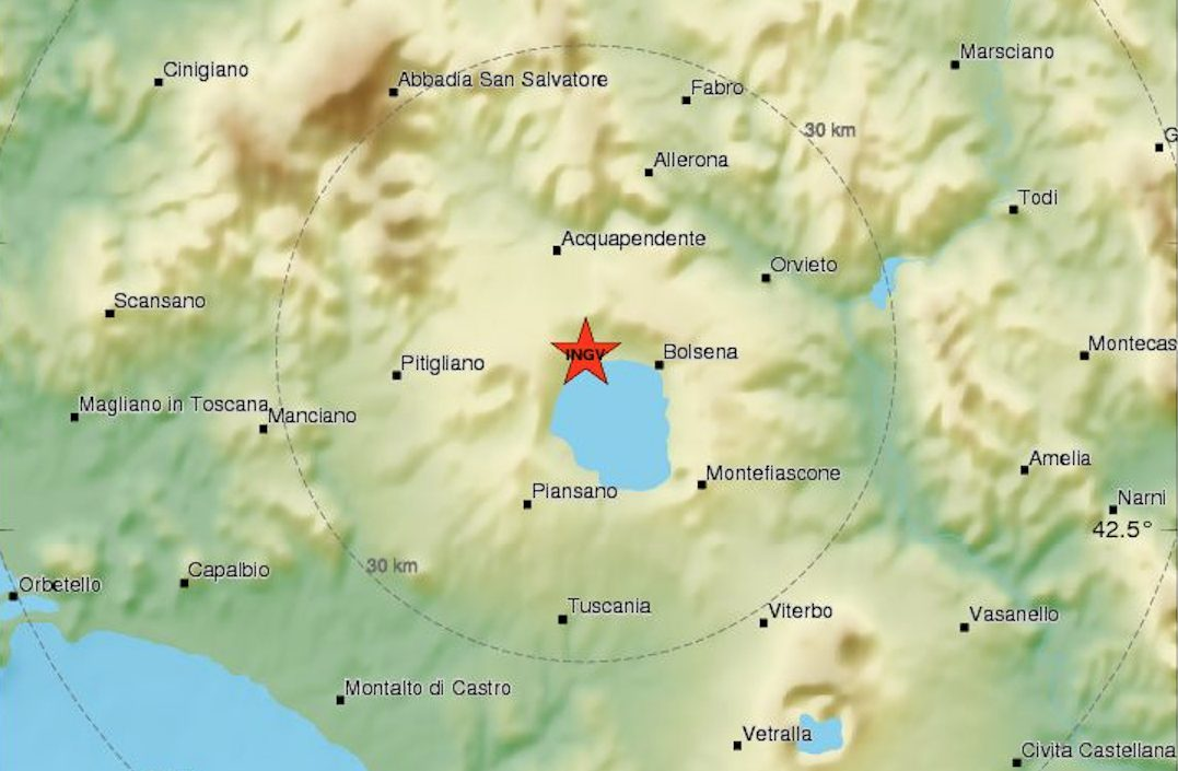 Viterbo, scossa di terremoto magnitudo 2.9 con epicentro a Grotte di Castro