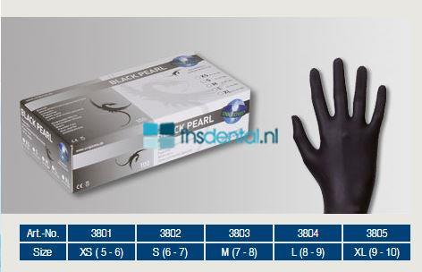 FHS HANDSCHOENEN POEDERVRIJ NITRILE BLACK PEARL EXTRA-SMALL (ZWART/100st)