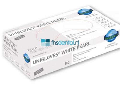 FHS HANDSCHOENEN POEDERVRIJ NITRILE WHITE PEARL MEDIUM (WIT/100st) GP0023