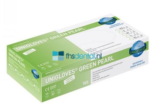 FHS HANDSCHOENEN POEDERVRIJ NITRILE GREEN PEARL SMALL (GROEN/100st) GP0042