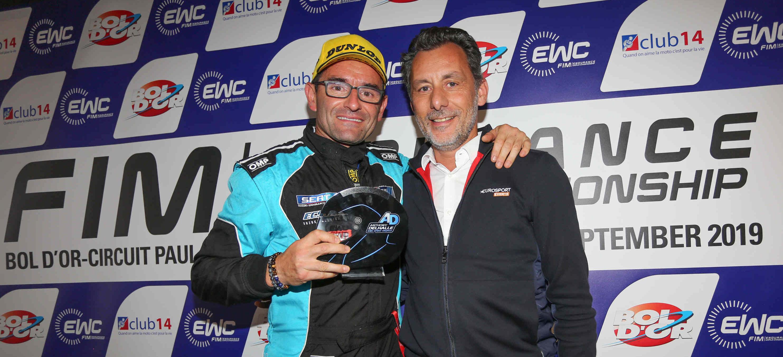 Anthony Delhalle EWC Spirit Trophy awarded to Damien Saulnier