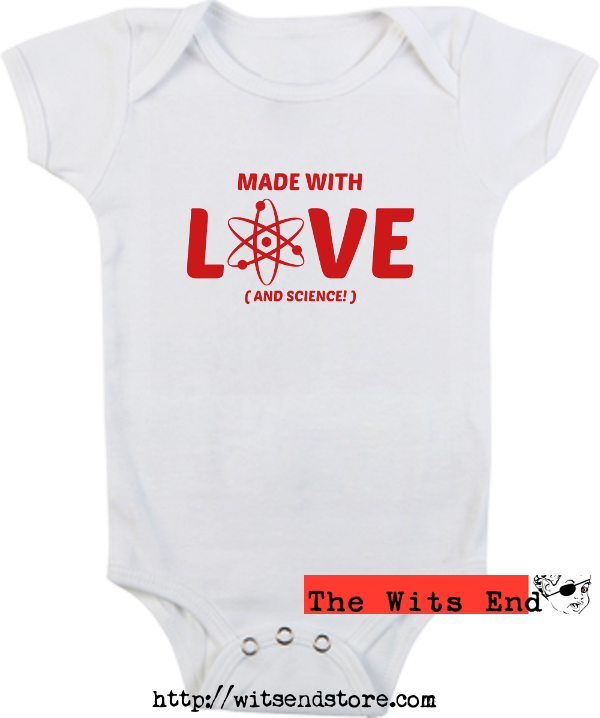 Made with love & science (with atom symbol) onesie example