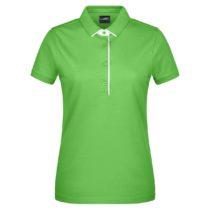 Jn725 Damespolo Single Stripe Lime Green White