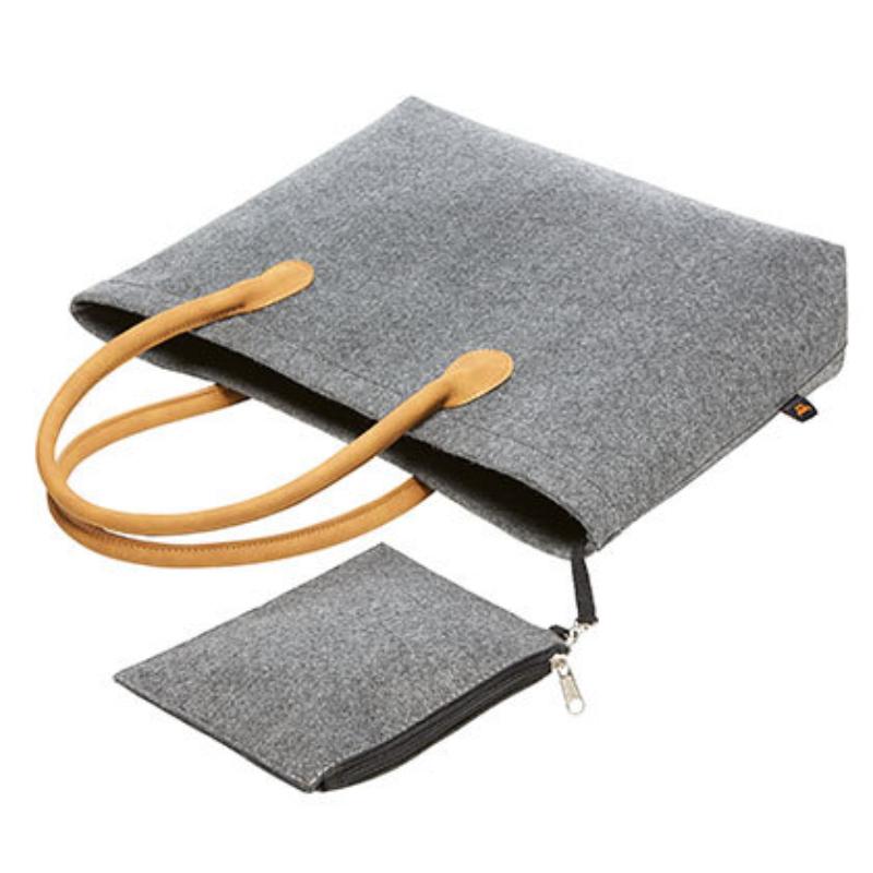Hf9792 Premium Vilten Shopper Met Velours Handvaten Grey