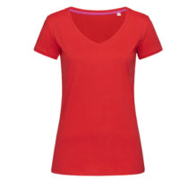 St9130 Dames T Shirt Stedman Megan V Neck Crimson Red