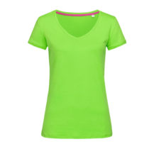 St9130 Dames T Shirt Stedman Megan V Neck Green Flash