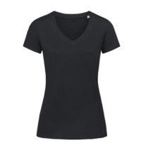 St9310 Dames T Shirt Organic Stedman Janet V Neck Black Opal