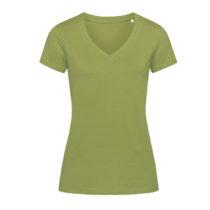 St9310 Dames T Shirt Organic Stedman Janet V Neck Earth Green