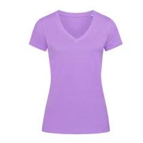 St9310 Dames T Shirt Organic Stedman Janet V Neck Lavender Purple