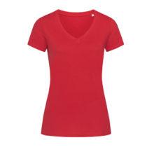 St9310 Dames T Shirt Organic Stedman Janet V Neck Pepper Red