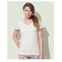 St9310 Dames T Shirt Organic Stedman Janet V Neck Winter White