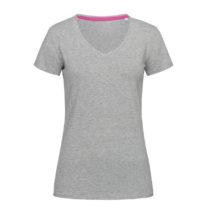 St9710 Dames T Shirt Stedman Claire V Neck Grey Heather