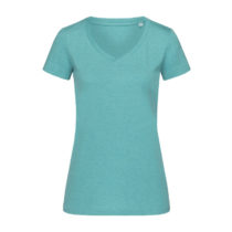 St9910 Dames T Shirt Lisa V Neck Aqua Heather