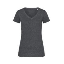 St9910 Dames T Shirt Lisa V Neck Charcoal Heather