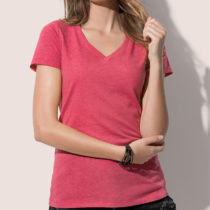 St9910 Dames T Shirt Lisa V Neck Cherry Heather