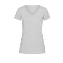 St9910 Dames T Shirt Lisa V Neck Heather Grey